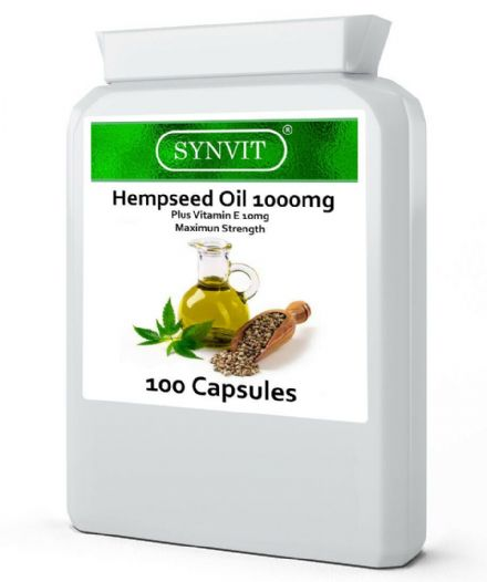 Hempseed Oil 1000mg x 100 Capsules (+Vitamin E); Super Strength; Synvit